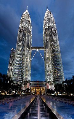The Petronas Twin Towers (also known as the Petronas Towers or Twin Towers), in Kuala Lumpur. Photograph by Leisha Rose