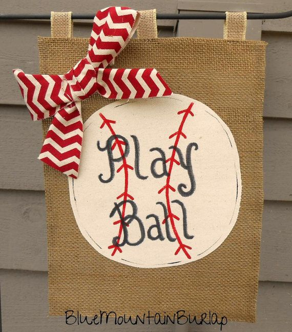 Burlap Baseball Garden Flag Outdoor Yard Flag by BlueMountainBurlap, $22.00