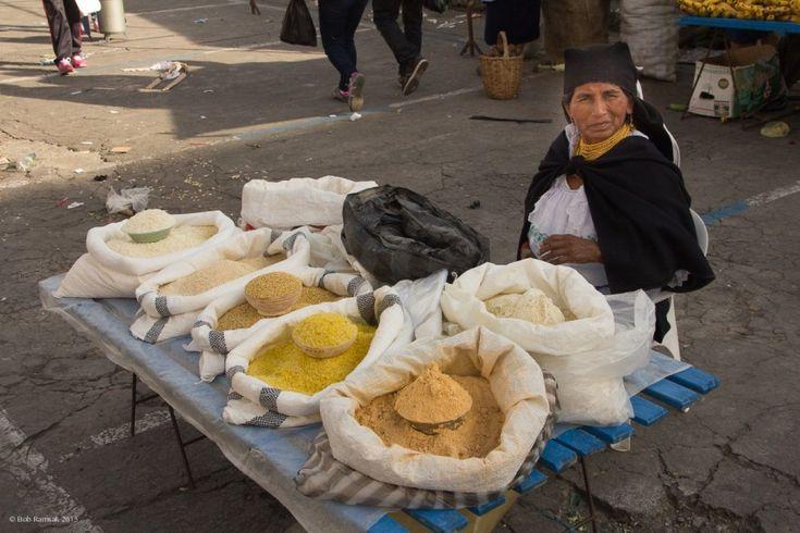 Woman selling corn, central market, Otavalo, Ecuador