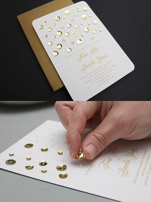 Free Invitation Template: Gold Glam Wedding Invitation with Sequins
