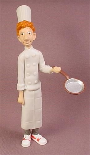 Disney Ratatouille Chef Linguini Holding A Frying Pan PVC Figure, 4 3/8 Inches Tall