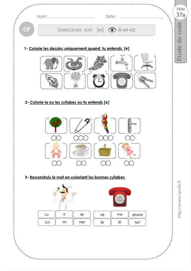 Le son É (é, er, ez) - (37a)   Exercice ce1, Exercice grande section maternelle, Fiches