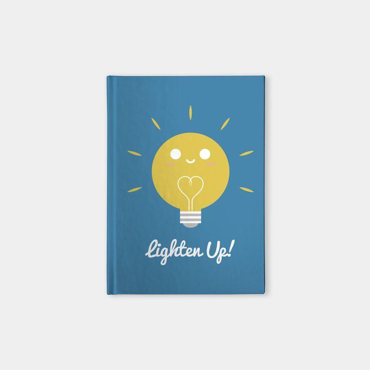 Lighten Up hardcover notebook by Slugbunny - light bulb, lights, bulbs, lightbulbs, lighten up, pun, play-on-words, bright, shine, shining, yellow, vector, art, illustration, design, cartoon, cute, funny