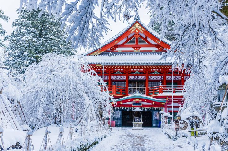 Japanese temple in winter.