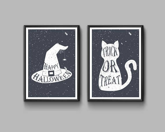 Set of two Halloween posters High quality digital prints