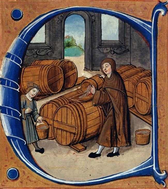 Wine Production in the Middle Ages, from the 'Redevancier de Saint-Germain-des-Pres' (detail) c.1530 French School source: © Centre Historique des Archives Nationales, Paris.