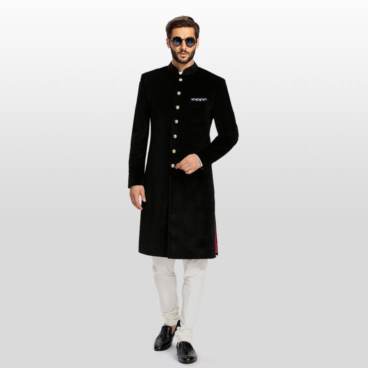 SARTORIAL ETHNIC BLACK ACHKAN  30,200 rupees    Customise this achkan to your specifications for a regal experience. Fabric spun by Neapolitan tailors from 100% Super 120's Wool.  FABRIC:100% Wool Super 110's from Vitale Barberis Canonico, Italy.  COLOUR:Black