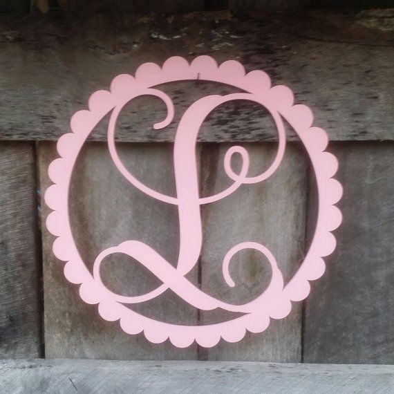 Painted Initial in Scallop Border  Personalized by NeedmoreHeart