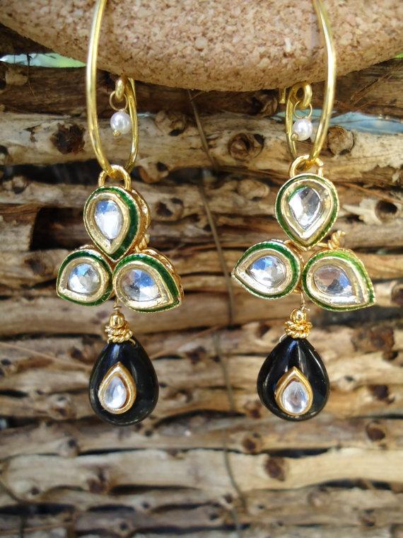 Kundan Earrings with Black danglers by SonaliDesigns on Etsy, $45.00