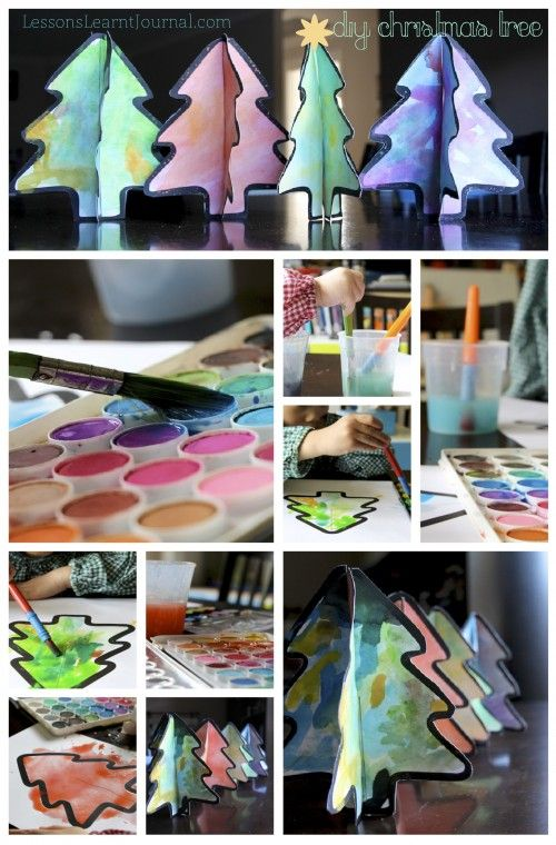 DIY Watercolor Christmas Tree via Lessons Learnt Journal