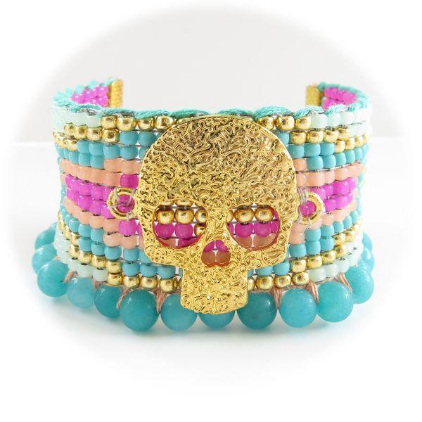 Brasiliano roccia braccialetto blu oro rosa di Chiara B. su DaWanda.com