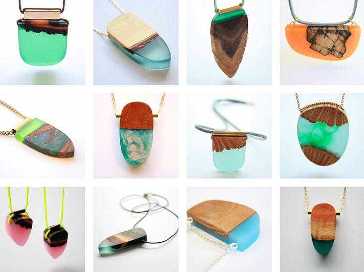 Britta Boeckmann cria belíssimas joias artesanais com fragmentos de madeira fundidos com resina stylo urbano-8