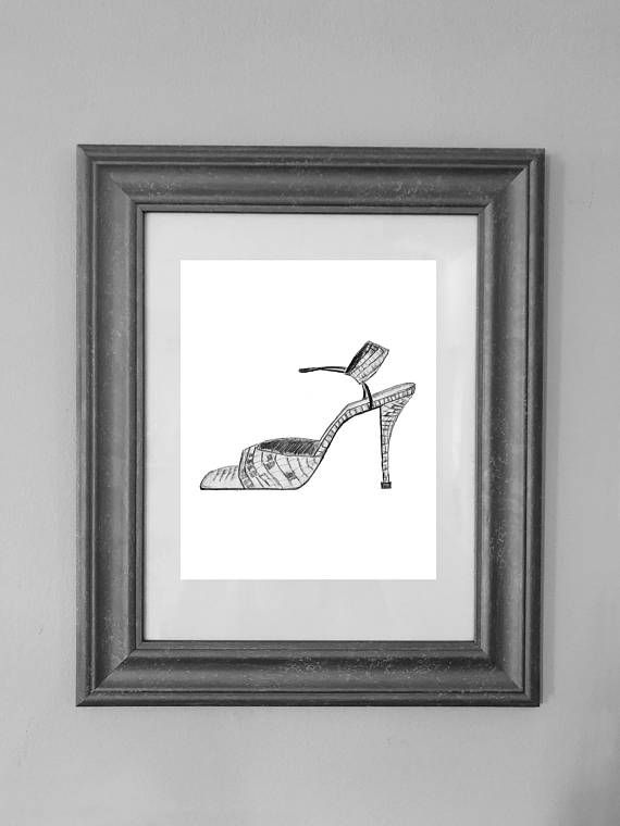 Our high heel drawing print is perfect for living room or bedroom! Measures approximately 8x10 and could be displayed beautifully in a standard size frame. Our designs are original pieces of art. You will receive a high resolution pdf and jpg. * Color may look different on screen from