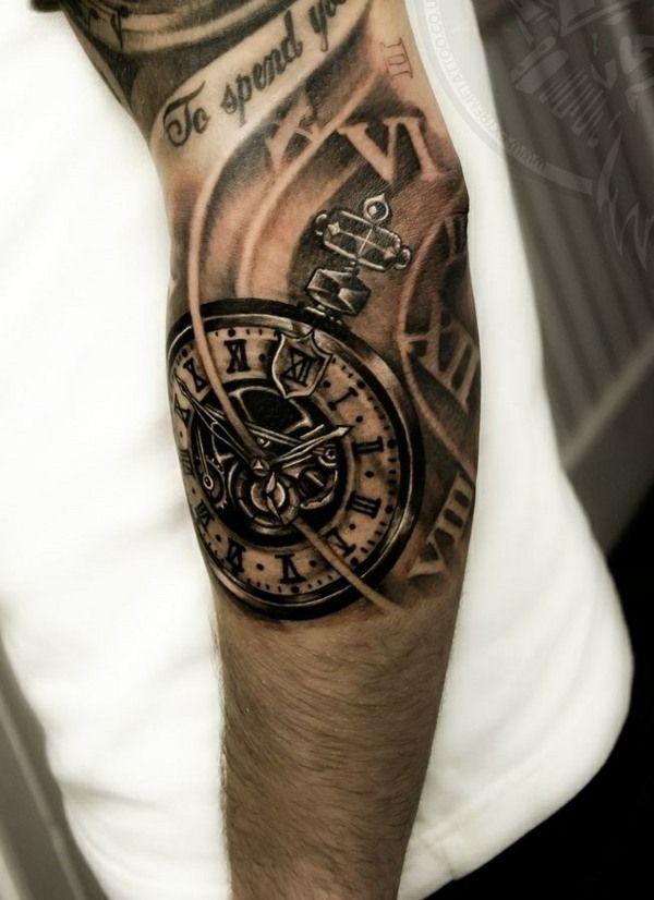 tattoos ideen schwarz uhr mechanismus