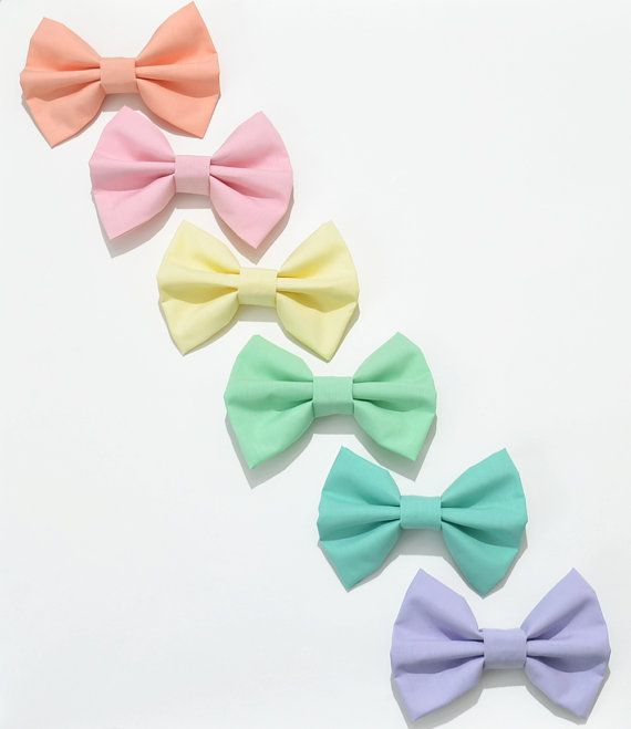 Pastel Fabric Hair Bow by Dimeycakes on Etsy, $6.00