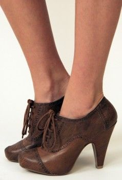 Brown Oxford booties
