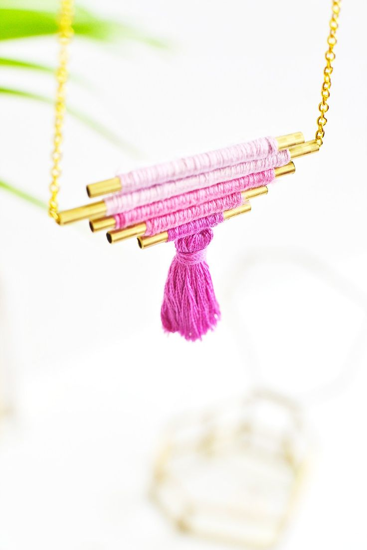Learn how to make your own tassel ombre necklace with brass tubes and embroidery thread with @enthralling_g