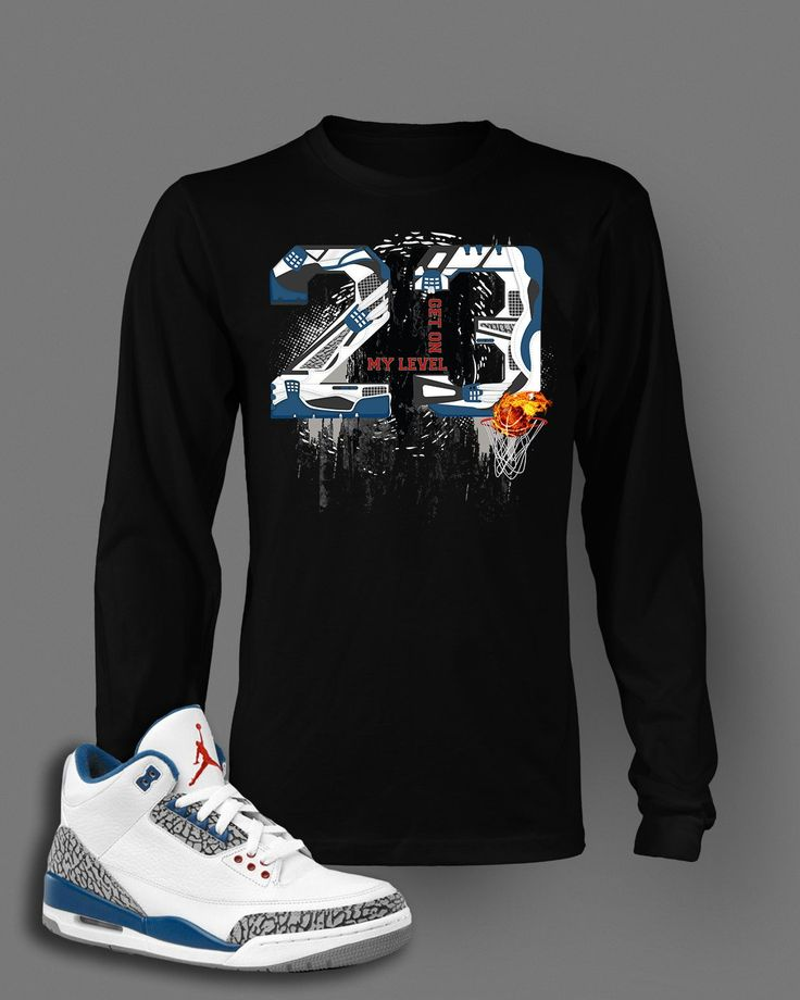 new styles f3b9c d4a54 ... Long Sleeve Graphic T Shirt To Match Retro Air Jordan 3 True Blue Shoes  ...
