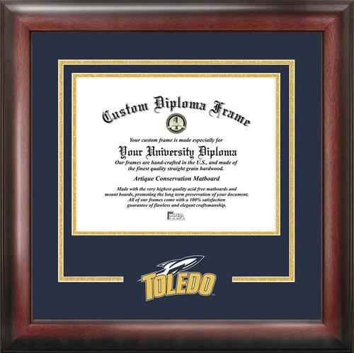 University of Toledo Rockets Matted Diploma With Mahogany Frame