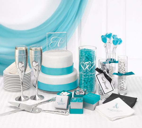 Learn how to coordinate your #wedding accessories. (We combined turquoise and white with a hearts logo and a monogram for a clean, coordinated look.)