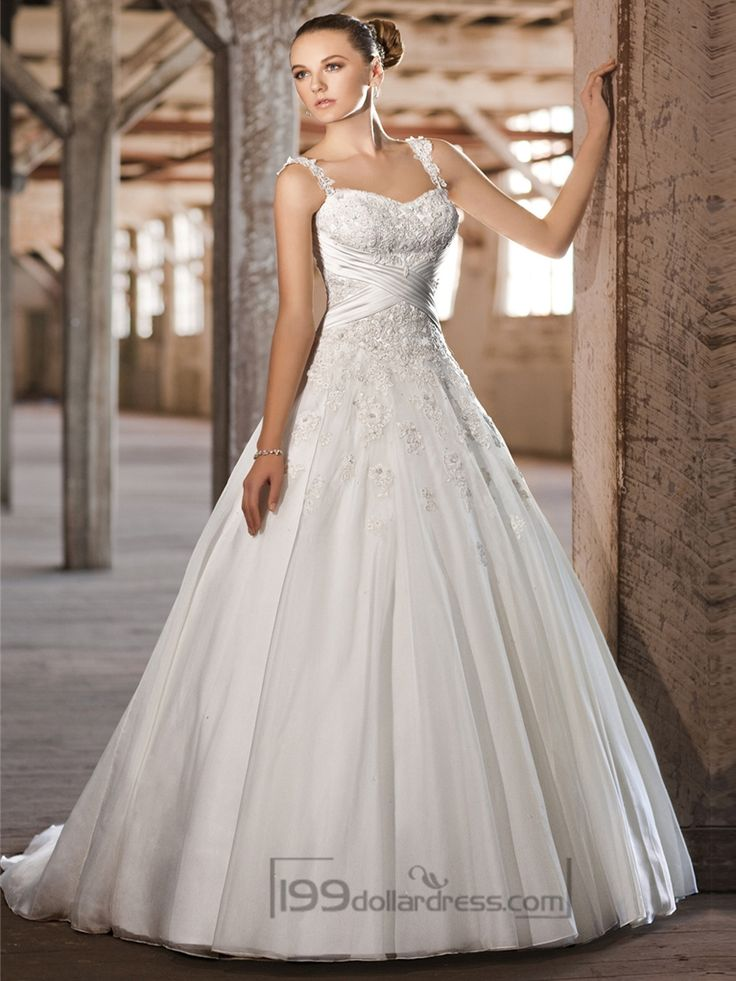 Straps Sweetheart Lace Appliques Criss-cross Bodice A-line Princess Wedding Dresses