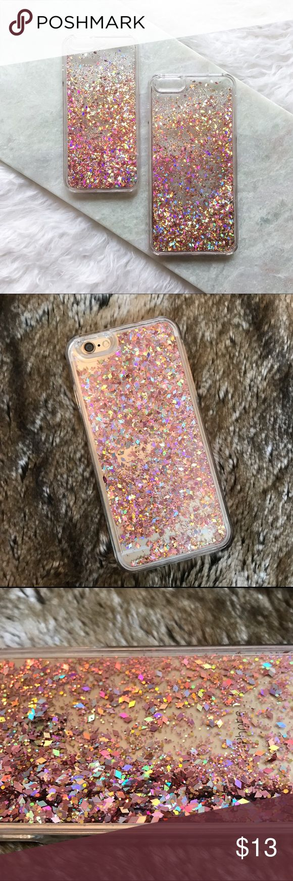 Rose Gold Iridescent Diamond Liquid iPhone 6 Case This gorgeous rose gold pink liquid diamond glitter iPhone 6 case is in EUC. I love this case so much but upgraded to the iPhone 7. Bittersweet. So sad to let it go. My loss is your gain!  Please feel free to ask any questions. Thank you for visiting my closet! Accessories Phone Cases