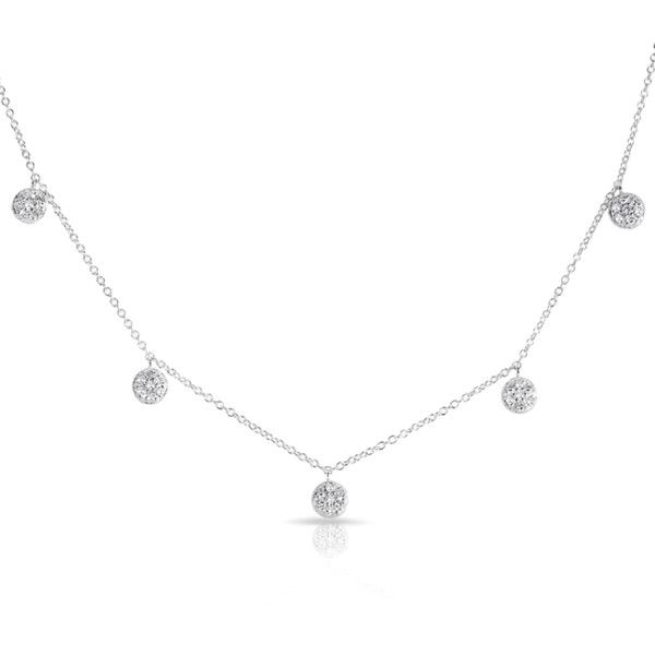 Anne Sisteron  14KT White Gold Rounded Diamond Discs Droplets Necklace (21 860 UAH) ❤ liked on Polyvore featuring jewelry, necklaces, white, diamond chain necklace, diamond disc necklace, white gold chain necklace, adjustable necklace and round necklace