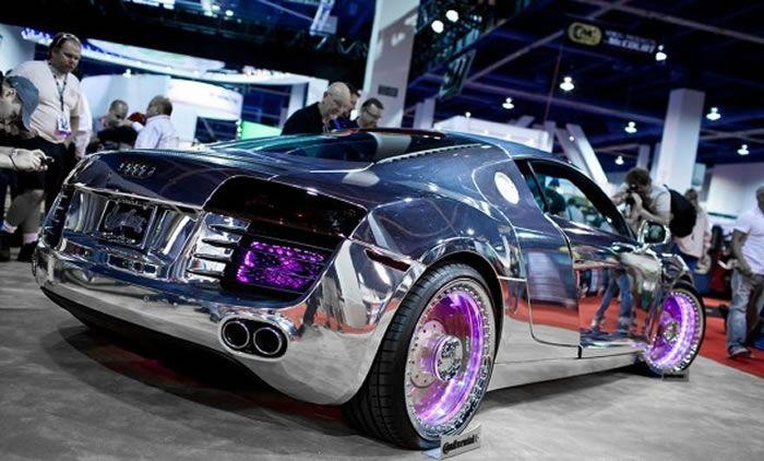 Chrome Tron Audi R8 By West Coast Customs #Chrome #VinylWraps #Rvinyl ***Use Code CHROME for 25% Off Until 11.11.14 at http://www.rvinyl.com/Chrome-Vinyl-Film-Wraps.htm***