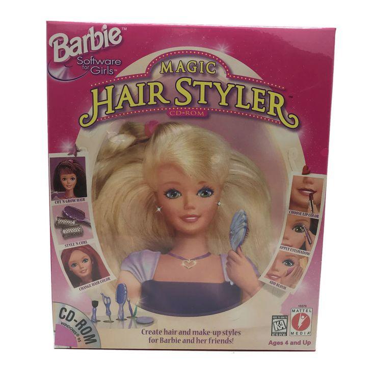 Vintage 1997 Barbie Magic Hair Styler Virtual Beauty PC Game For Windows Mattel #Mattel