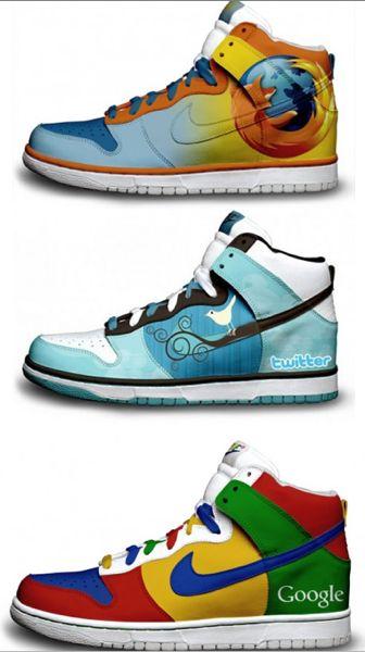 Custom #Nike Dunk High for #Firefox #Twitter & #Google designed by David