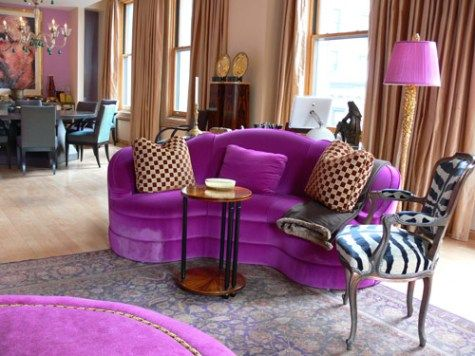 Beige And Purple Living Room Nook Modern Colorful Purple Sofa