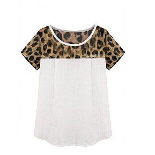FINEJO Sexy gasa Mujeres camiseta de leopardo ocasional de tres cuartos de manga camisa de la blusa