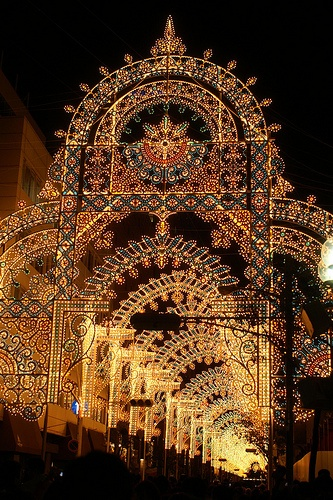 """Kobe, Japan Luminarie light festival, an artistic event also known as """"sculptures of light"""", commemorating the 6000 victims of the Great Hanshin earthquake from 1995."""