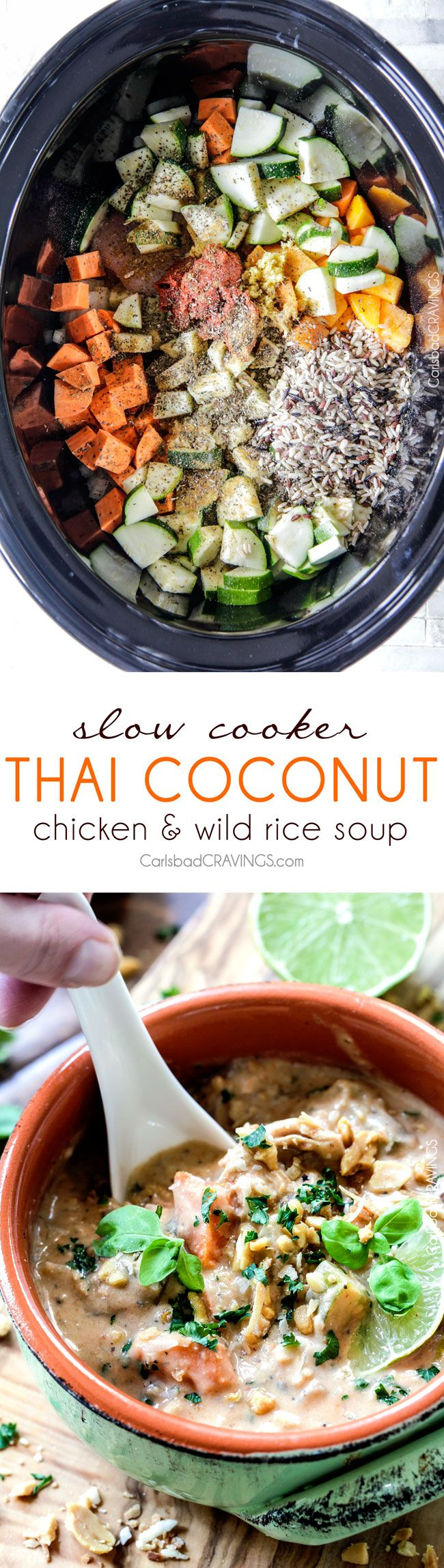 Slow Cooker Thai Coconut Chicken Wild Rice Soup loaded with customizable veggies in a creamy red curry peanut butter coconut broth is out is out of this world Delicious and couldn't be any easier! via @carlsbadcraving