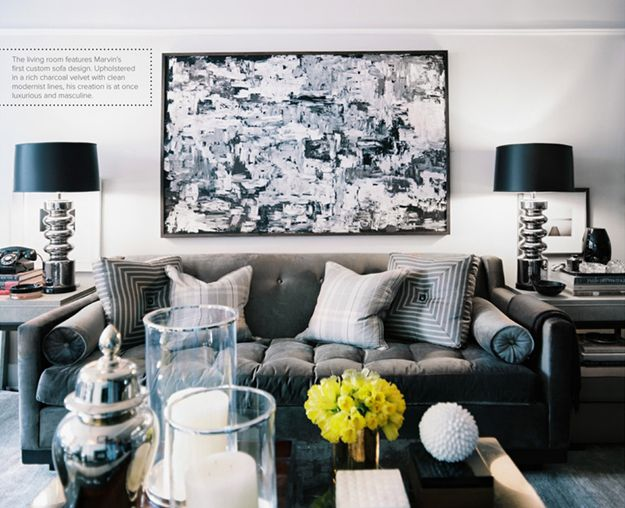 Masculine living room designed by Ron Marvin. Via Lonny Magazine June/July 2012.: