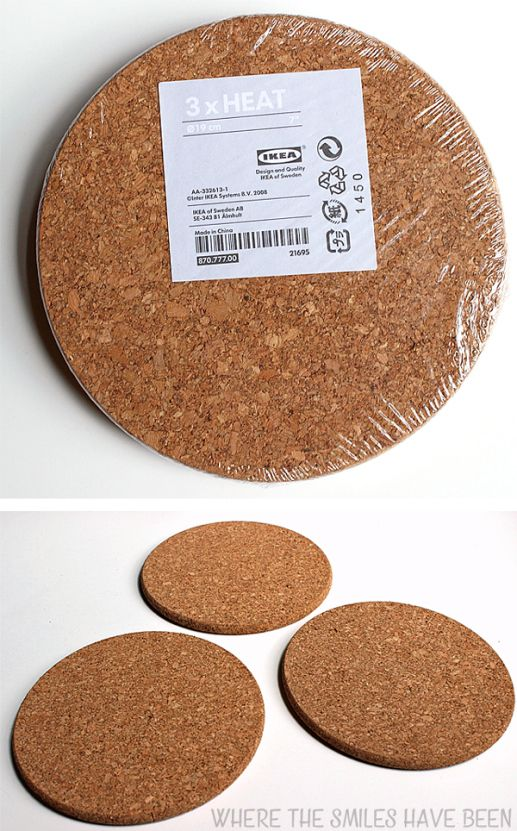 diy burned ikea cork trivets cheap easy ikea hack. Black Bedroom Furniture Sets. Home Design Ideas