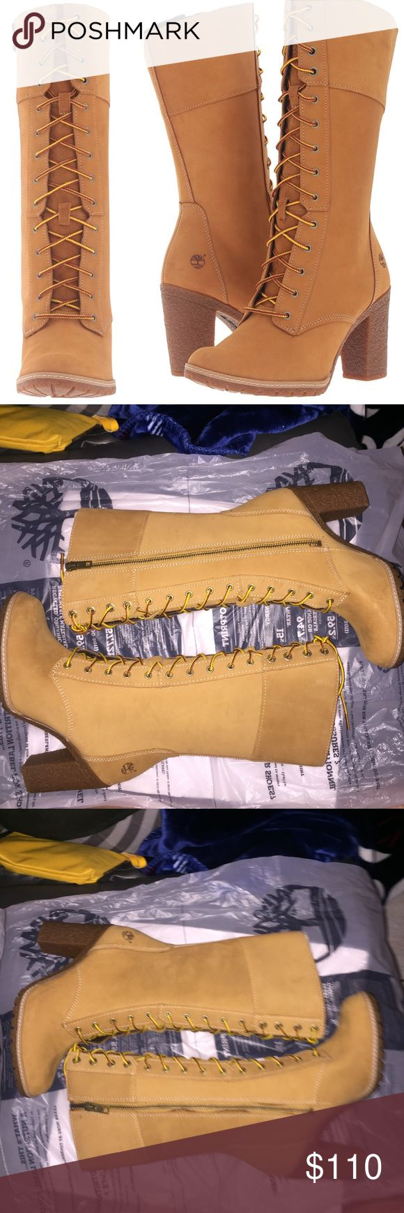 NWT TIMBERLAND GLANCY 10 IN LOW HEEL SIZE 7 NEW TIMBERLAND BOOT.  LACE UP AND ZIPPER ON THE SIDE. SIZE: WOMEN'S SIZE 7 STYLE: TB0A1996 231 COLOR: WHEAT HEEL HEIGHT: 3.5 IN. SHAFT: 10 IN.  ROUND TOE. Timberland Shoes Heels