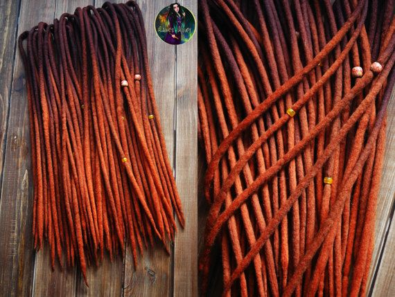 Set of wool DE dreads shades of dark brown to red double ended dreadlocks by Alice Dreads #afflink