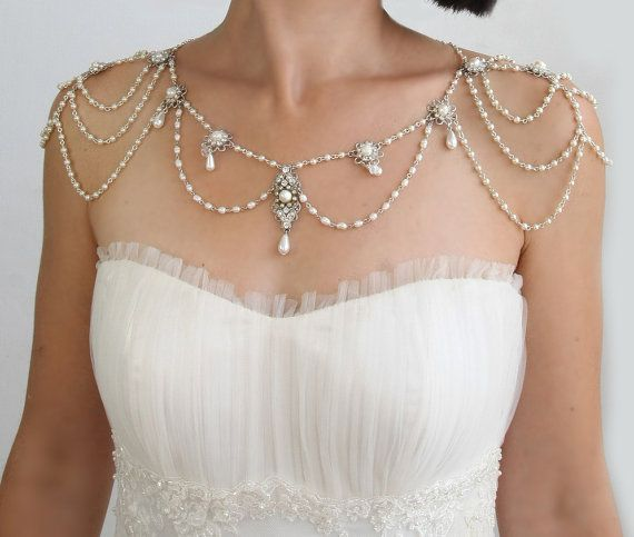 Necklace For The Shoulders,1920,Pearls,Rhinestone,Silver,OOAK Bridal Wedding Jewelry,The Great Gatsby,Victorian,Made By Efrat Davidsohn