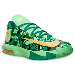 Men's Nike KD VI Basketball Shoes | FinishLine.com | Light Lucid Green/Atomic Mango