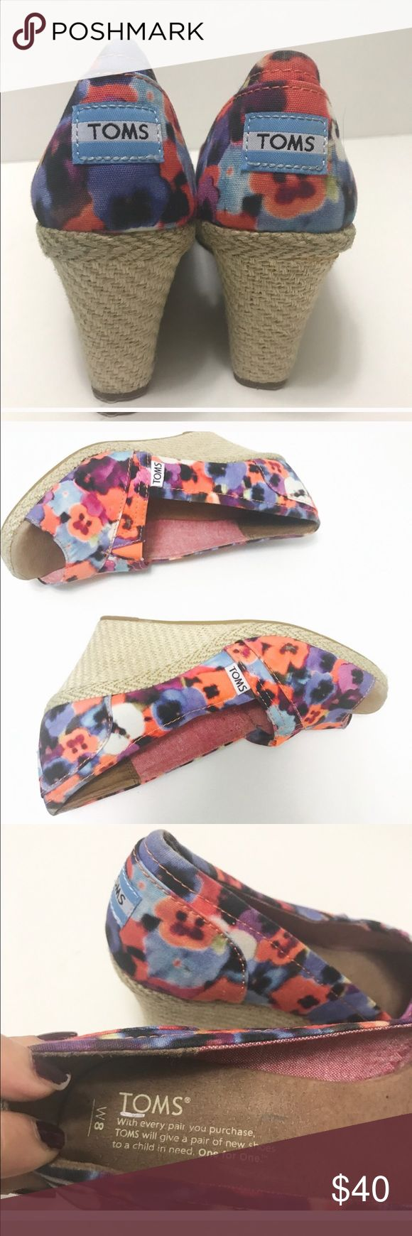 "TOMS Wedge Peep Toe Floral Shoes Espadrilles TOMS Wedge Peep Toe Floral Shoes Espadrilles size 8 preowned Fantastic condition see small discolor on heel edge barely noticeable. Very cute. 3"" Heels TOMS Shoes Wedges"