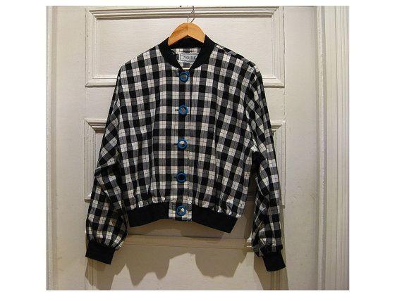 80s plaid bomber jacket  summer cotton plaid by EcoCentrik on Etsy #made about plaid #vintage plaid bomber jacket #tartan jacket #hipster jacket www.etsy.com/shop/ecocentrik
