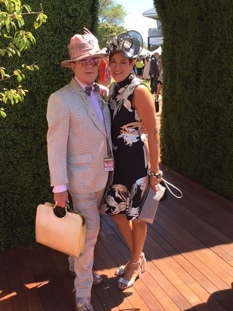 Crown Oaks Day 2016 milliner Sandy Aslett and Peter Jago