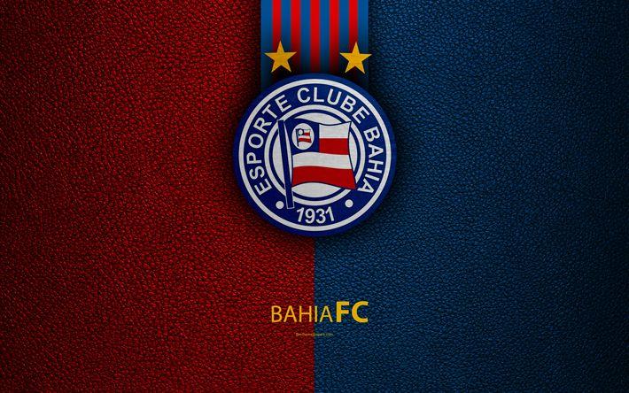 Download wallpapers Bahia FC, 4K, Brazilian football club, Brazilian Serie A, leather texture, emblem, logo, Salvador, Bahia, Brazil, football