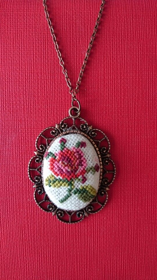 Vintage Rose Cross Stitch Pendant- Oval Neclace