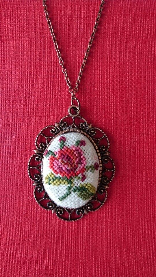 Vintage Rose Cross Stitch Pendant- Oval Neclace