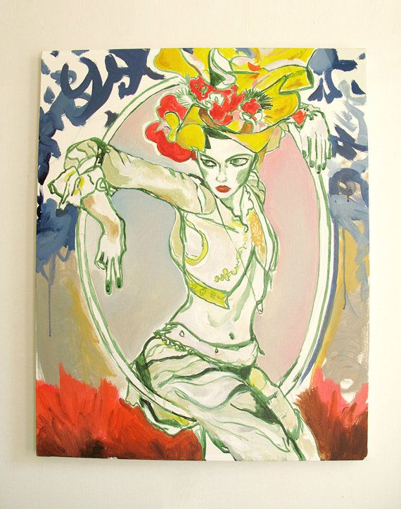 Flame Swing'n Bold Colorful Figurative Original by miccicohan, $800.00