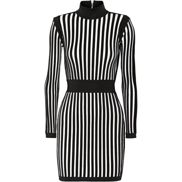 Balmain Striped stretch-knit mini dress (166.715 RUB) ❤ liked on Polyvore featuring dresses, black, short black cocktail dresses, short dresses, vertical stripe dress, black mini dress and slimming black dress