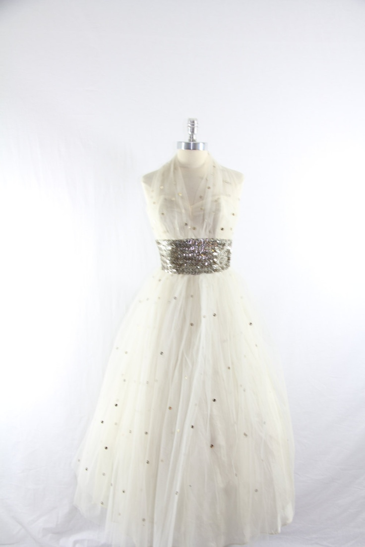 1950's Vintage Wedding Dress - White Tulle Halter with Silver Sequins Tea Length Wedding Gown. $180.00, via Etsy.