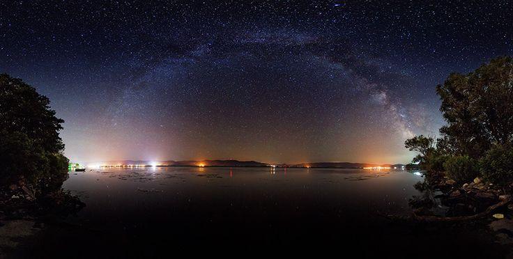 Milky way over Danube river, near Golubac, Serbia.